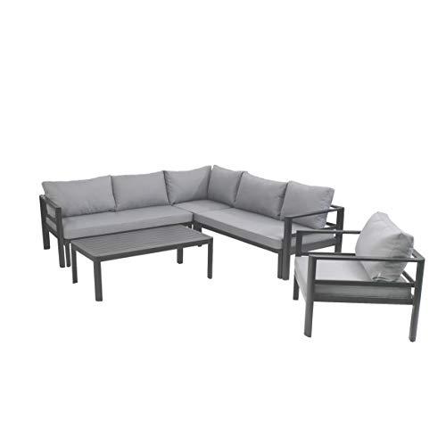 greemotion Lounge-Set Levante, Gartenmöbel-Set aus Aluminium in Anthrazit, Design-Sitzgruppe für indoor und outdoor, inklusive Kissen in Grau