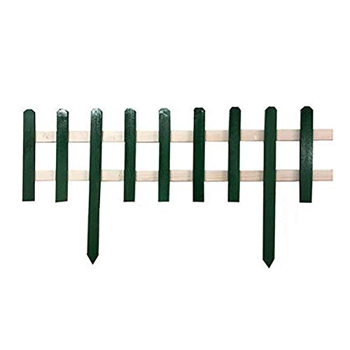 SUBBYE Garden Picket Fence, 39in X 20in Outdoor Wooden Landscape Instant Fencing, Patio Fences Flower Bed Animal Dogs Barrier Border Edge Decor Panels, Dark Green+White
