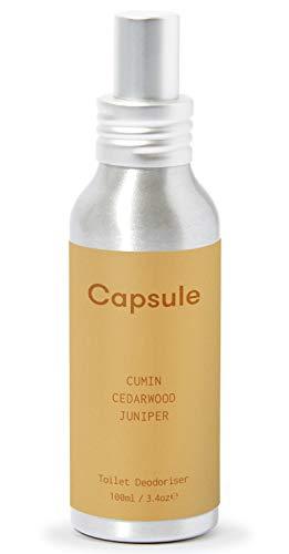 Capsule - Antes de usted Go Spray para inodoro, comino, enebro, cedro, 100 ml de lujo desodorante para inodoro