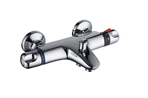 DP Grifería TTEX0001 Grifo termostático de bañera, Plateado