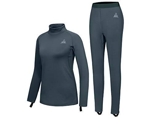 Dasawamedh Women's Fleece Thermal Underwear Set Lightweight Warm Base Layers for Hiking Skiing Diving, Blue XS