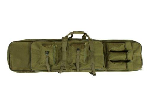 BEGADI Langwaffentasche/Futteral mit Doppelfach & Aussentaschen, extralang, 120 x 30cm, Olive