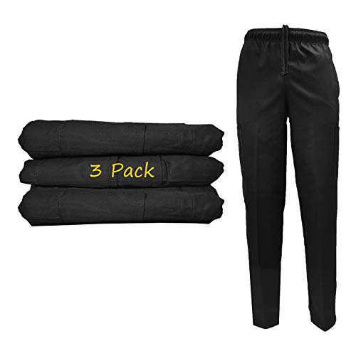 Natural Uniforms Classic 6 Pocket Black Chef Pants with Multi-Pack Quantities Available (3, Medium)