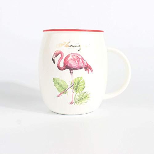 HRDZ Taza de cerámica Taza Creativa Simple Flamenco Rojo Lindo Dibujos Animados