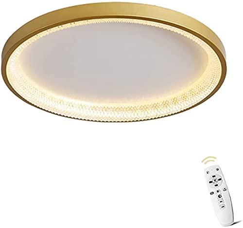 Lámpara de Dormitorio Lámpara de Techo, D47 * H6CM, Moderno Minimalista Interior Dimmable Control Remoto Ligero Ligero Cocina Habitación Niños Lámpara de Techo (Oro) LJMYQL (Color : Gold)