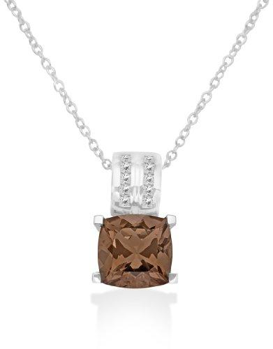 Miore dameshalsketting 925 sterling zilver met rookkwarts hanger en zirkonia 46 cm MHS022N