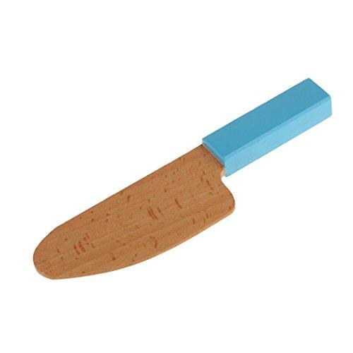 Mini Couteau en Bois Simulation Cuisine Prétend Jouet Semblant Jeux de Rôle Playhouse -Bleu/Rose - Bleu