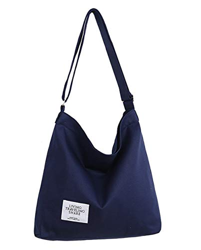 Covelin Women's Retro Large Size Canvas Shoulder Bag Hobo Crossbody Handbag Casual Tote Navy Blue