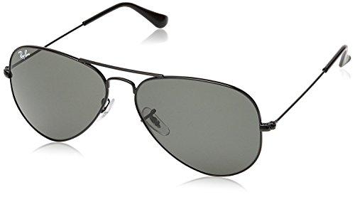 Ray Ban Sonnenbrille Aviator, 58 mm, Gestell: Schwarz, Gläser: Grün G15