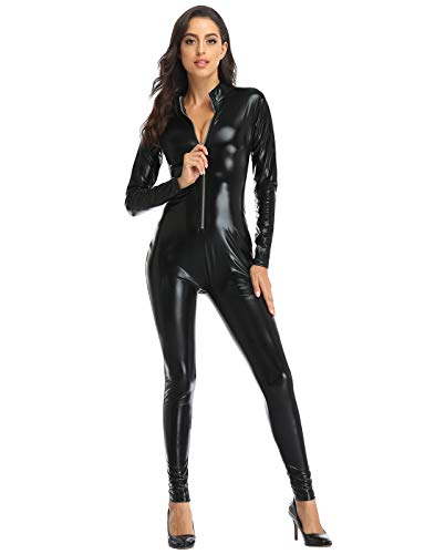 HDE Womens Cat Suit Bodysuit Front Zipper Wet Look Latex Jumpsuit (X-Large, Black)