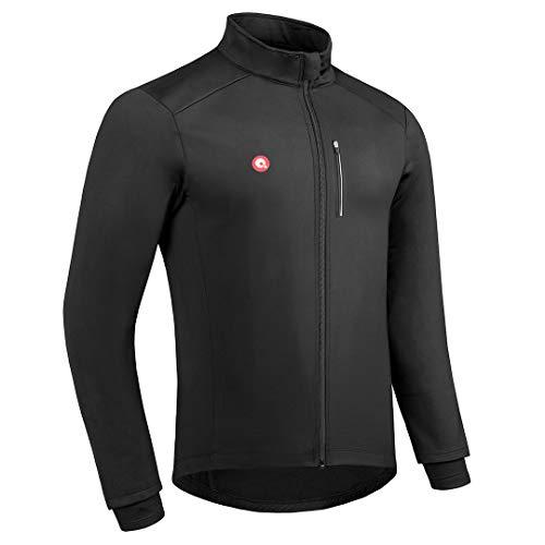 Przewalski Cycling Bike Jackets for Men Winter Thermal Running Jacket Windproof Breathable Reflective Softshell Windbreaker (Medium,Black)