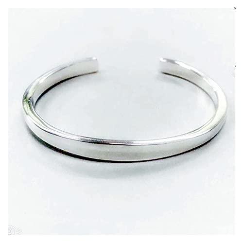 Wh1t3zZ1 Pulsera Mujer 925 Plata Brillante Pulseras sólidas brazaletes para Las Mujeres regales Ajustables de la joyería del Encanto Hecho a Mano