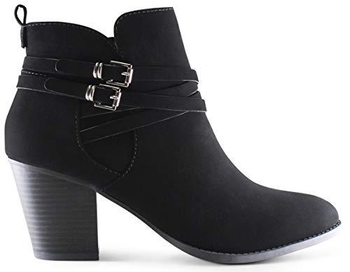 Marco Republic Switzerland Women's Almond Toe Mid-Heel Chunky Block Stacked Heels Ankle Booties Boots - (Black NBPU) - 10
