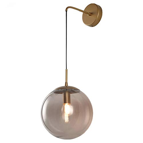 MZStech Aplique de pared Aplique Lámpara de pared de esfera de vidrio retro de lámpara de pared de gota de globo de vidrio vintage de 20 cm industrial (Gris)