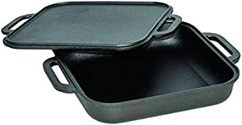 Jim Beam JB0218 3-In-1 Cast Iron Skillet With Double Sided Griddle