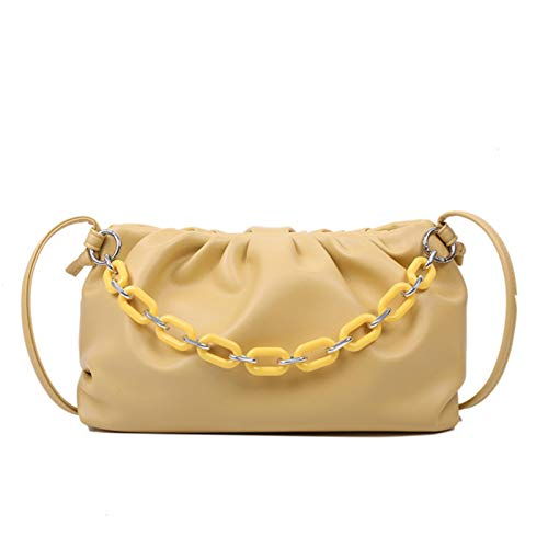 Hzryc Candy Color PU Leather Shoulder Messenger Bags For Women Small Crossbody Bag Travel Chain Handbags And Purses,Yellow