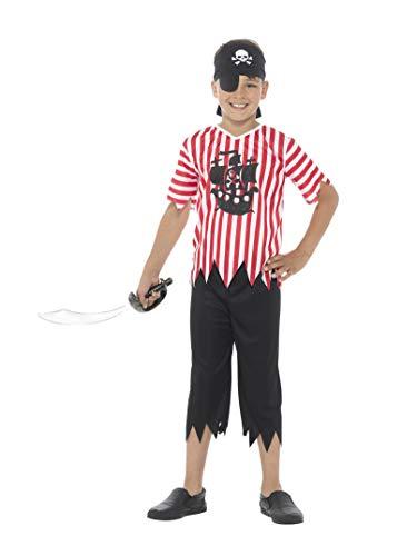 Schotland kostuum voor kinderen, piraat liefhebbers, jongens, met bovendeel, broek, bandana en oogflap Größe S rood/wit