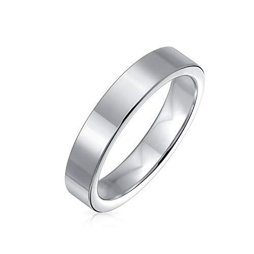 Bling Jewelry Schlichte Flache Zigarre Paare Titan Eheringe für Männer für Frauen Silber Ton 4MM