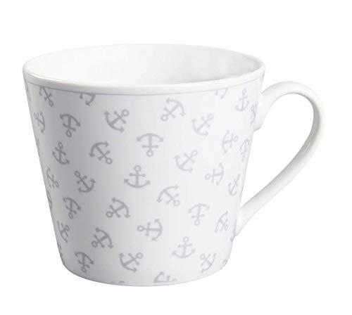 Krasilnikoff - Becher, Tasse mit Henkel - Happy Cup - Anker - ca. 400 ml - Höhe: 9 cm - weiß/grau