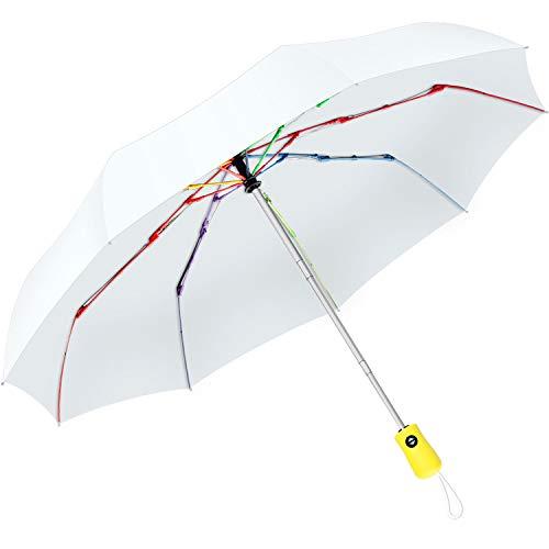 Bestkee Paraplu, zakparaplu automatisch stormvaste paraplu, 210T waterdicht, snel drogen met regenboogribben, compact, licht, winddicht, voor dames en heren