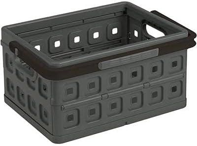 Sunware Square Folding Box 24 Litre with Handle Anthracite Black Colour