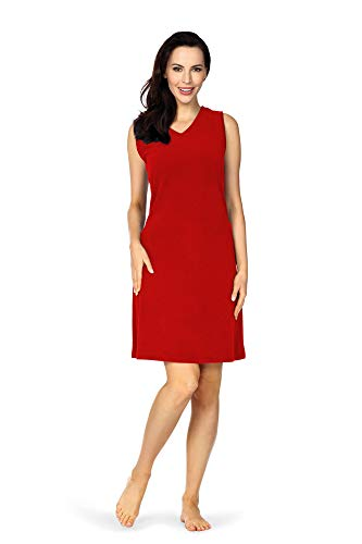 Comtessa dames strandjurk huisjurk badstof jurk zonder mouw katoen rood