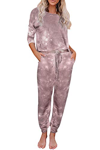 Women 2 Piece Sweatsuit Set Tie Dye Long Sleeve Pullover Casual Jogger Pants Homewear Tracksuits Brown S