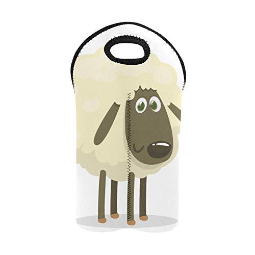 Bolsa de picnic para vinos Lindos animales blancos Bolsas de ovejas pequeñas Portabotellas doble Bolsa de vino de viaje Soporte para botellas de vino de neopreno grueso Mantiene la