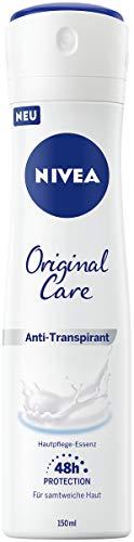 NIVEA Original Care Anti-Transpirant Spray (150 ml), Deo mit Hautpflege-Essenz und mildem Duft, sanftes Damen Deo für 48h zuverlässigen Anti-Transpirant Schutz