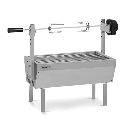 Klarstein Sauenland – Miniasador, pincho giratorio, motor eléctrico de 4 W, carga máxima de 12 kg, altura regulable, parilla para asar, tina para carbón, patas de acero inoxidable, plateado
