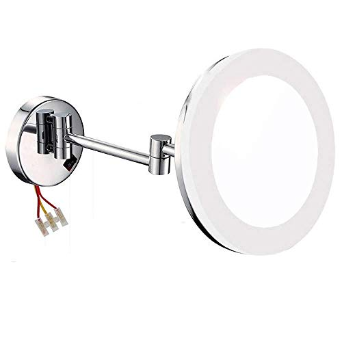 Makeup Mirror,with Led Light Magnification Bathroom Wall Mirror Chrome Finished Adjustable Dimmable(Hardwired) -