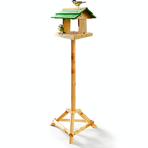 deinTierhaus | Comedero para pájaros con soporte de pie - Kit para armar|Casita de madera para aves silvestres -estilo básico| Alimentador de aves 30x30x117 cm - para jardín prado césped
