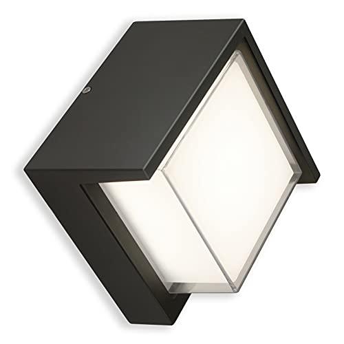 Aplique Exterior HOMEOW LED Lámpara de Pared 12W IP65 Impermeable Luz de Pared Cuadrado 3000K Blanco Cálido 900LM Negro para Interior Jardín Terraza Baño Garaje