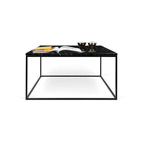 Paris Prix - Temahome - Table Basse Gleam 75cm Marbre Noir & Métal Noir