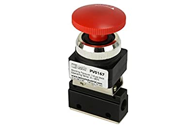 "Latching Push Button Normally Closed Pneumatic Air Control Valve 2 Port 2 Way 2 Position 1/8"" NPT by TEMCo"