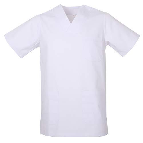 MISEMIYA - Casaca Unisex Cuello Pico Mangas Cortas Uniforme Laboral CLINICA Hospital Limpieza Veterinaria SANIDAD Médico Enferme - Ref.817 - XL, Blanco