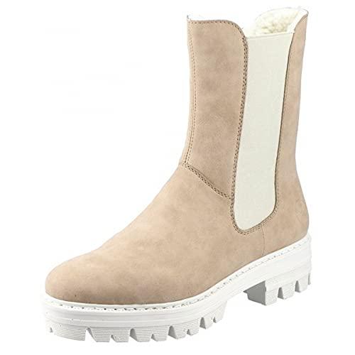 Rieker Damen 76190 Mode-Stiefel, beige, 36 EU