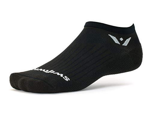 Swiftwick- ASPIRE ZERO Running Socks, Cycling Socks, Mens & Womens, Lightweight No-Show (Black, Large)