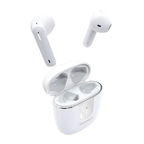 Tronsmart Onyx Ace Cuffie Bluetooth senza fili 5.0 con 4 microfoni, Auricolari Bluetooth Impermeabile IPX5 Wireless TWS, Cancellazione del rumore CVC 8.0, audio aptX Qualcomm, Riproduzione 24h, bianco
