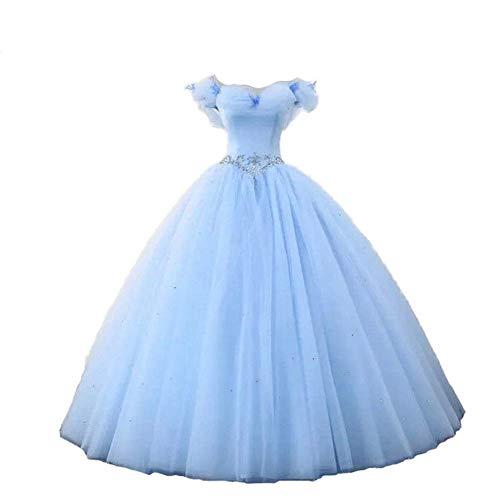Datangep Women's Ball Gown Off Shoulder Quinceanera Prom Gown Wedding Dress Blue 12
