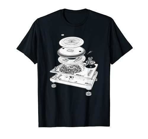 DJ Turntable 1210 MK2 Exploded Blueprint Design T-Shirt