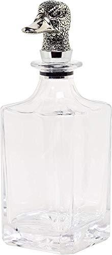 EDZARD Caraffa quadrata in vetro con anatra, altezza 26 cm, in elegante argento