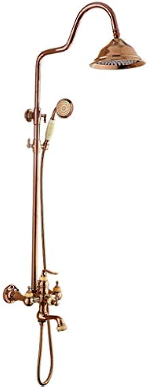 LHW Shower Set chgarnitur, RoséGold, Warm- und Kaltmischventil, Lift, Wanddusche, Duschgarnitur