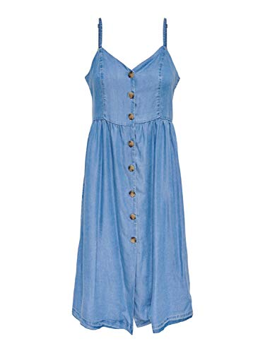 ONLY Damen Sommer-Kleid 'onlCUMA Life SL Button DOWN DNM Dress' Jeanskleid mit Spaghettiträger (36)