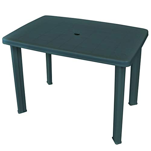 vidaXL Garden Table 101cm Plastic Green Umbrella Hole Outdoor Camping Stand