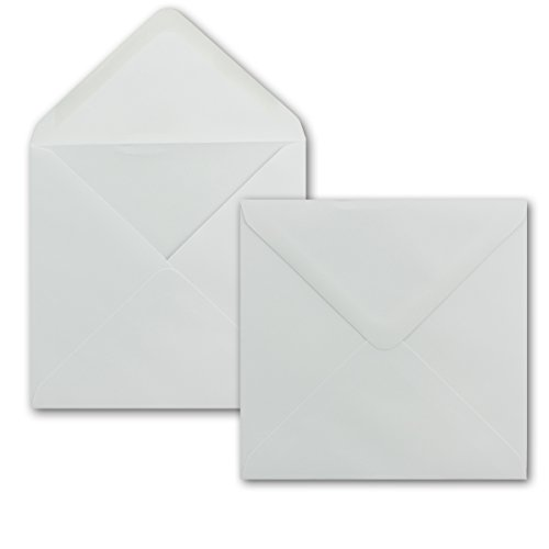 50 x Briefumschlag Quadratisch 15 x 15 cm in Weiß - 100g/m²- Nassklebung mit spitzer Verschlussklappe - Für ganz besondere Anlässe