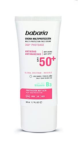 Babaria Crema Facial Multi Protectora Antiedad y Antimanchas Spf 50+, Fresco, 50 Ml
