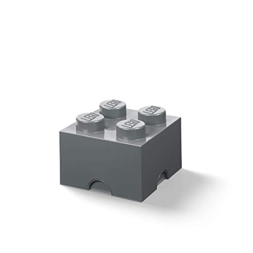 Room Copenhagen- Brique Lego 4 plots, Boîte de Rangement empilable, 5,7 l, Gris Foncé, 40031754, One Size