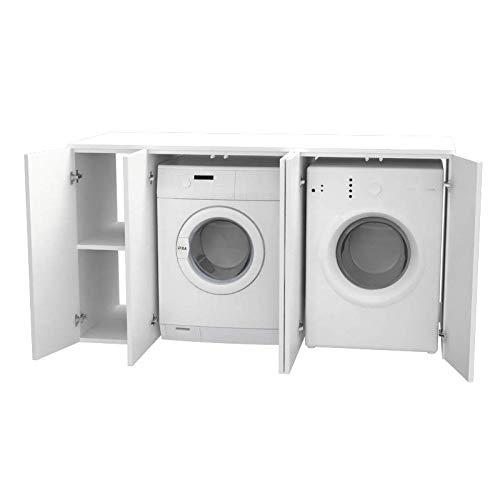 Ve.Ca. Mobile lavanderia con ante Riga 175 cm in legno, copri lavatrice asciugatrice, diversi colori, anche su misura, bagno (Bianco frassinato)