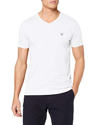 GANT Herren The ORIGINAL Slim V-Neck T-Shirt, Weiß (White 110), Small